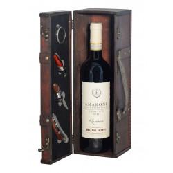 Elegant box in antique wood with precious Sommelier accessories  and Amarone della Valpolicella Classico D.O.C.G. 2013 Buglioni