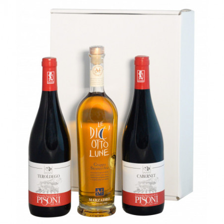 Gift Box - Organic Wines of Trentino from the Pisoni Winery and Grappa 18 Lune - Marzadro